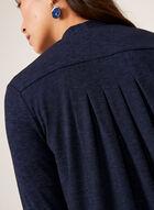 Cardigan ouvert à manches ¾ et dos plissé, Bleu, hi-res