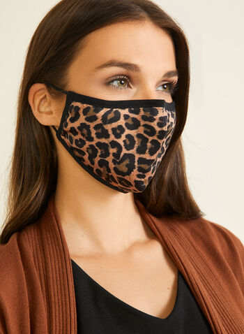 Leopard Print Cotton Mask, Black,  mask, leopard print, cotton, adjustable, washable, reusable, fall winter 2020