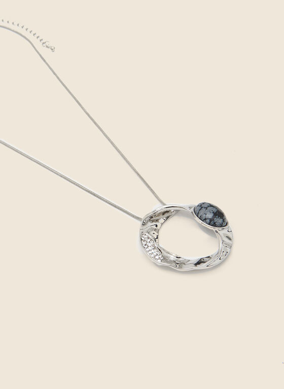 Stone Crystal and Ring Pendant Necklace, Black