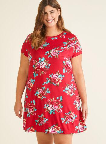 Chemise de nuit motif floral, Rouge,  pyjama, chemise de nuit, feuilles, fleurs, manches courtes, printemps été 2020
