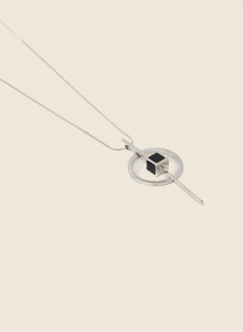Cube Pendant Necklace, Black,  necklace, long, cube, metallic, silver, resin, chain, fall winter 2020
