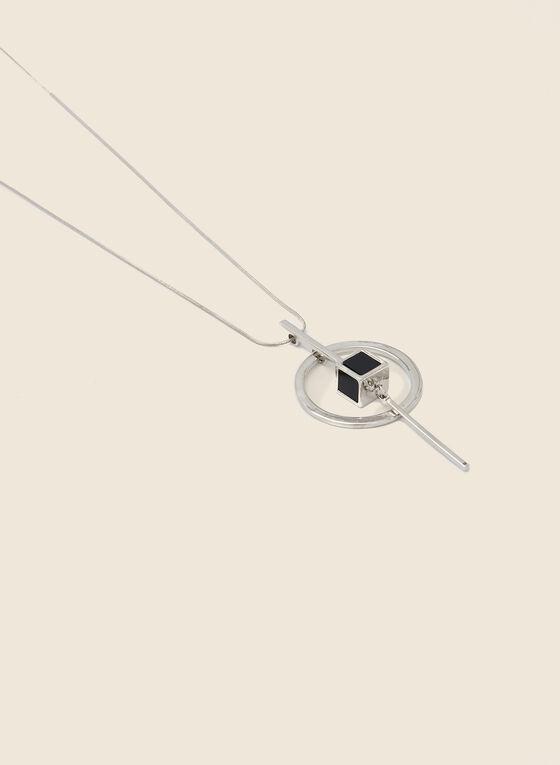 Collier long à anneau ajouré et cube, Noir
