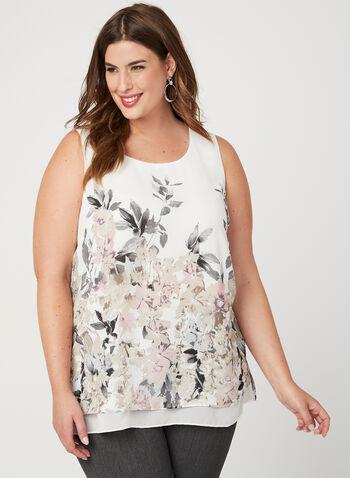 Floral Print Chiffon Blouse, White, hi-res
