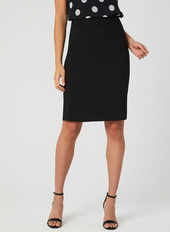 Faux Pocket Pencil Skirt, Black, hi-res