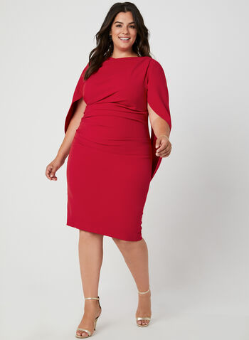 Draped Crepe Dress, Red, hi-res,  cocktail dress, draped, cape, crepe, ruching,