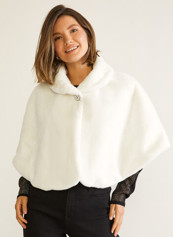Short Faux Fur Cape, Off White,  Fall winter 2020, stole, cape, faux fur, crystals