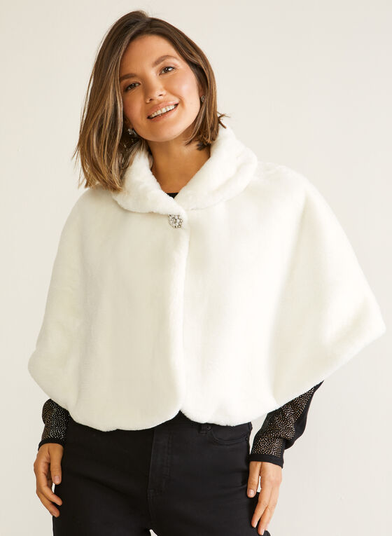 Short Faux Fur Cape, Off White