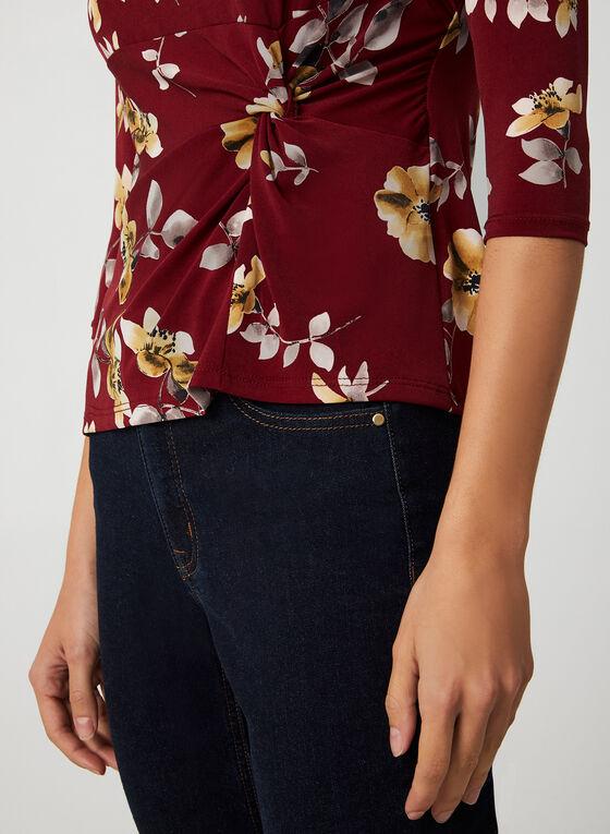 Haut à imprimé floral et manches ¾, Rouge