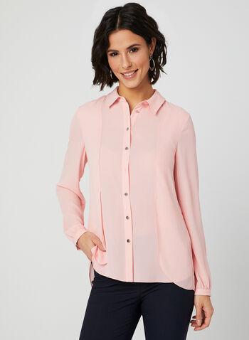 Long Sleeve Crepe Blouse, Pink, hi-res,