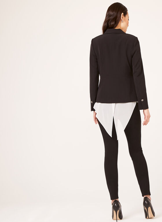 Single Button Fitted Blazer, Black, hi-res