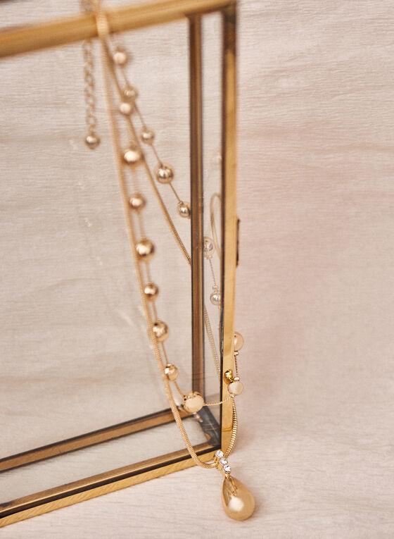 Double Row Metallic Ball Necklace, Gold