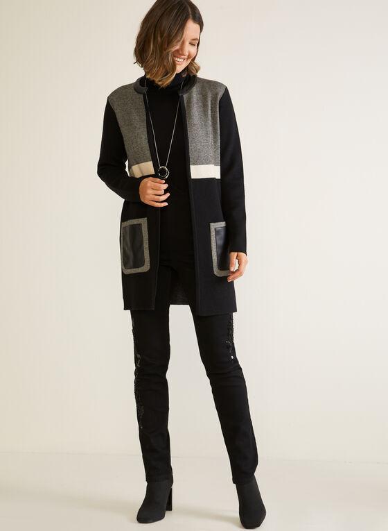 Vegan Leather Detail Cardigan, Black