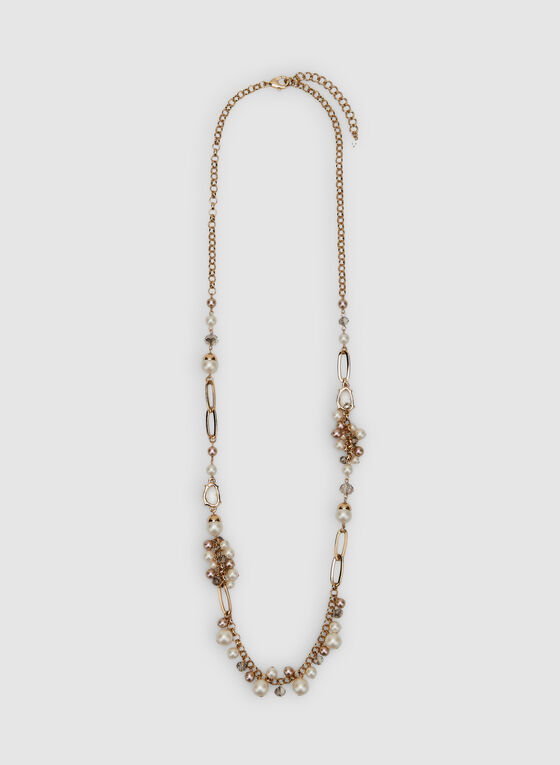 Pearl Cluster Necklace, Yellow, hi-res
