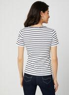 T-shirt rayé avec détails floraux, Blanc