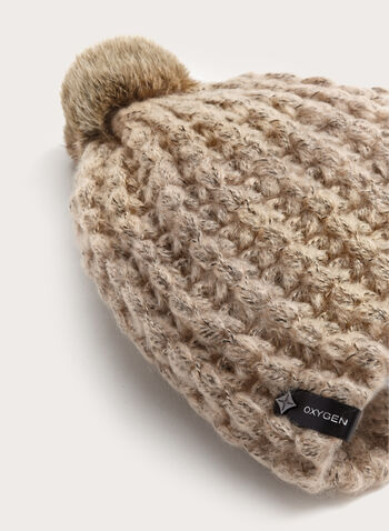 Fur Knit Pompom Hat, Brown, hi-res