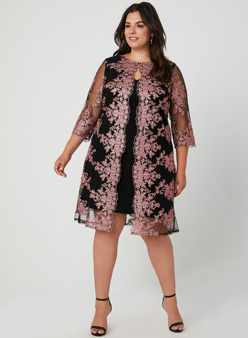 Alex Evenings - Jersey Dress With Embroidered Jacket, Black, hi-res,  cocktail dress, jersey, embroidered, V-neck, fall 2019, winter 2019