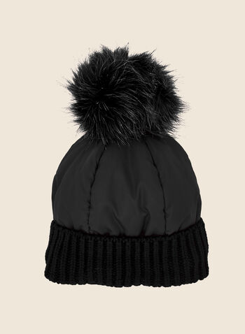 Removable Pom Pom Quilted Hat, Black,  fall winter 2020, hat, accessories, quilted, knit, pompom, faux fur