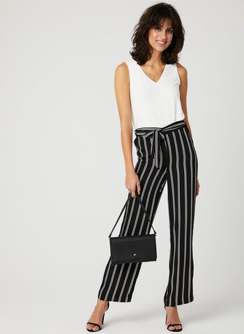 Modern Fit Stripe Print Pants, Black, hi-res