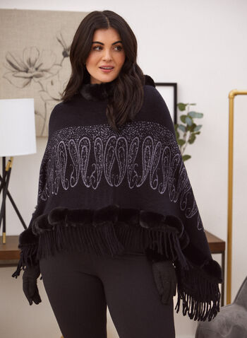 Paisley Print Poncho, Black,  poncho, faux fur, fringe, paisley, fall winter 2021