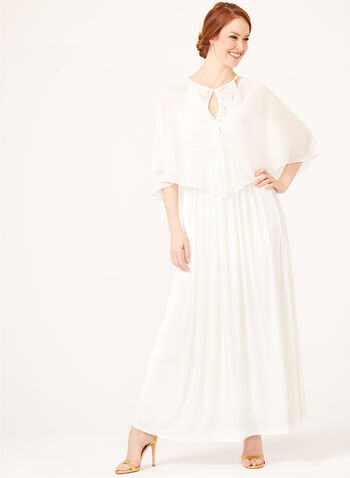 Convertible Chiffon Bolero, Off White, hi-res