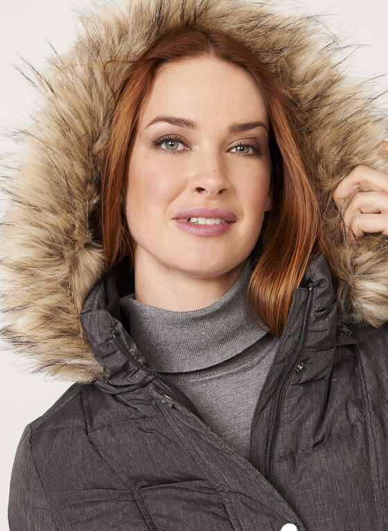Hooded Quilted Down Coat , Grey, hi-res