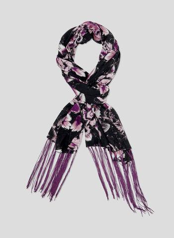 Floral Print Pashmina Wrap, Purple, hi-res