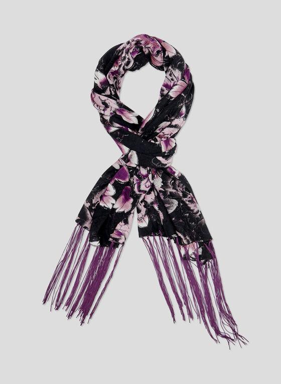 Foulard à imprimé de grosses fleurs , Violet, hi-res