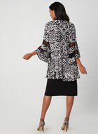 Floral Motif Dress & Cardigan Set, Black