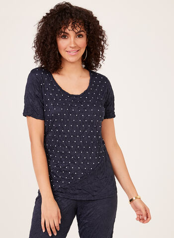Alison Sheri – Polka Dot Print Top With Crinkle Effect, Blue, hi-res