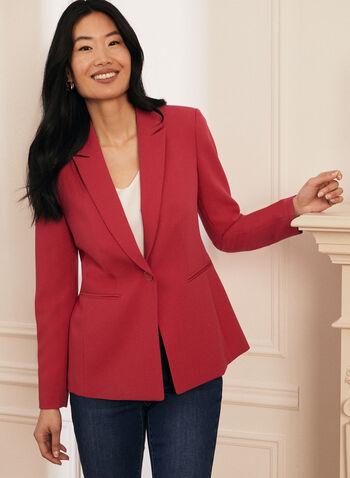 One-Button Closure Jacket, Pink,  Spring Summer 2021, suits, jackets, blazer, blazers, one button, closure, faux pockets