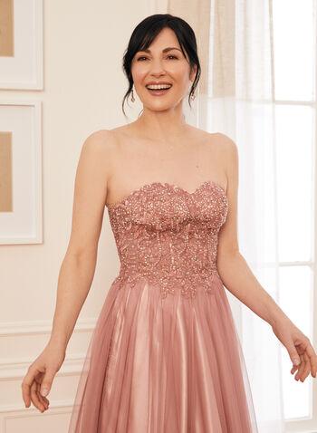 Robe de bal coupe bustier à cristaux, Rose,  robe de bal, bustier, bouffant, cristaux, satin, dos lacé, printemps été 2021