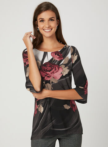 Rose Print Jersey Top, Black, hi-res