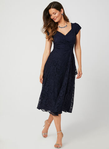 Fit & Flare Glitter Lace Dress, Blue, hi-res