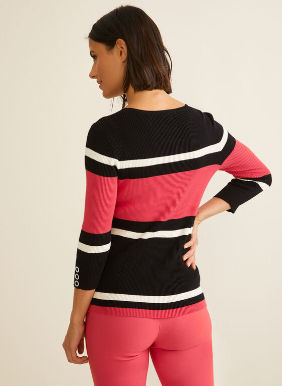 3/4 Sleeve Striped Sweater, Red