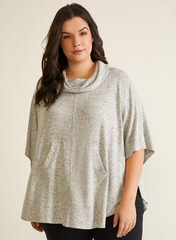 Poncho en tricot à col bénitier, Gris,  automne hiver 2020, haut, pull, chandail, tricot, poncho, col bénitier, manches coude, poches, fait au Canada
