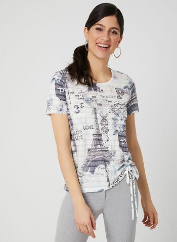 Mixed Print Burnout T-Shirt, Blue,  short sleeves, graphic print, spring 2019