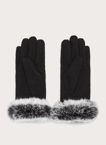Rabbit Fur Wool Gloves, Black, hi-res