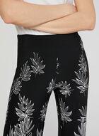 Floral Print Wide Leg Pants, Black, hi-res