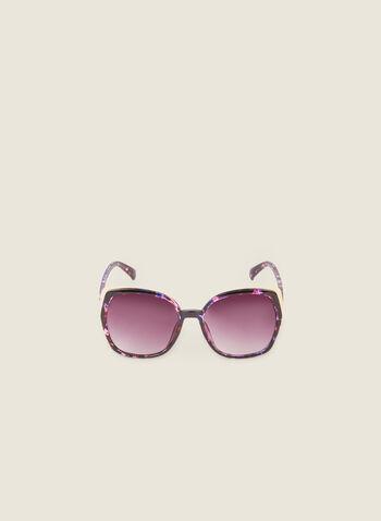 Lunettes de soleil carrées écaille, Violet,  lunettes de soleil, carré, écaille, doré, printemps été 2020