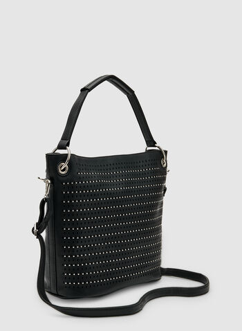 Stud Detail Bucket Bag, Black, hi-res,  faux leather, spring 2019