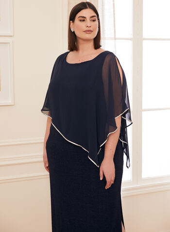 Crystal Detail Poncho Dress, Blue,  Spring summer 2021, poncho overlay, jersey fabric, crystal details