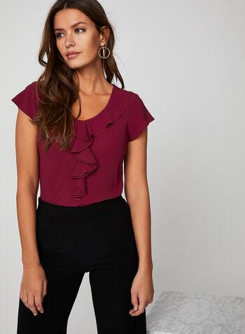 Blouse volantée à manches courtes, Rouge,  blouse, volants, manches courtes, crêpe, col V arrondi, automne hiver 2019