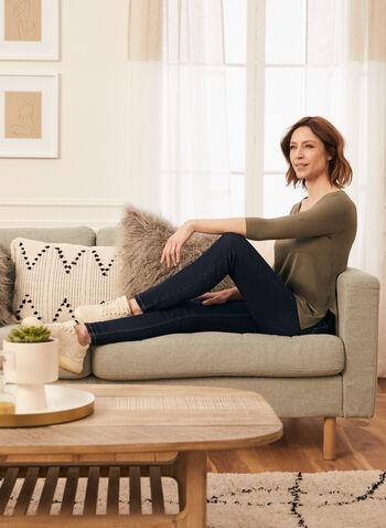 Jeans ajusté pull-on , Bleu,  printemps été 2021, bas, jeans, denim, pull-on, ajusté, jambe étroite, poches, élastiques, confortable, extensible