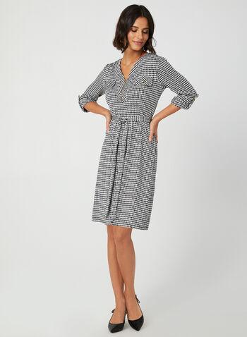 Soho – Houndstooth Print Dress, Black, hi-res,  shift dress, day dress