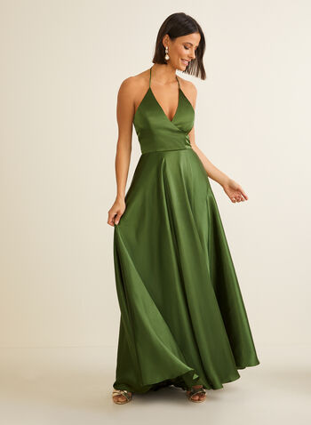 Satin Halter Dress, Green,  prom dress, gown, spaghetti straps, halter neck, sleeveless, satin, high low, crossover, pockets, spring summer 2020