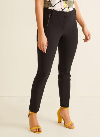 Pantalon coupe cité à jambe droite, Noir,  pantalon, cité, jambe droite, pinces, poches, rabat, zip, printemps été 2020