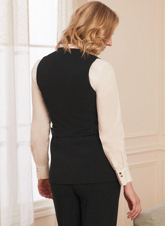 Louben - Sleeveless Button Front Vest, Black