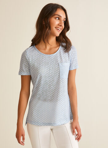 Polka Dot Print T-Shirt, White,  t-shirt, polka dot, short sleeves, patch pocket, jersey, scoop neck, spring summer 2020