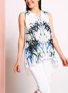 Graphic Print Tie Front Capelet Blouse, White, hi-res