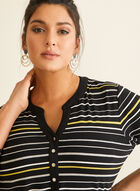 Stripe Print Elbow Sleeve Top, Black